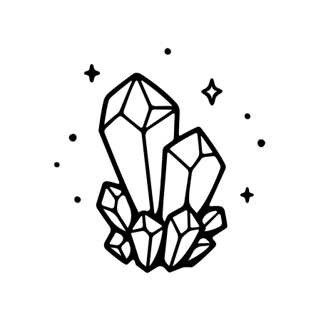Hand drawn crystals illustration. Simple isolated black and white drawing of precious gems and sparkles.