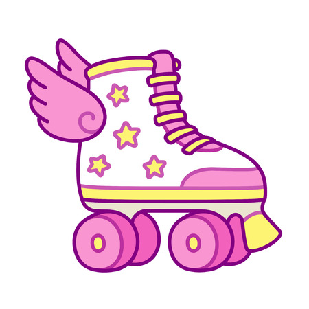 Cute pink girly roller skates with stars and wings. Retro quad rollers cartoon vector illustration.