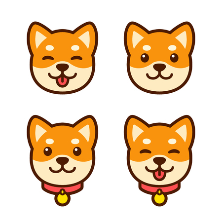 Cute cartoon Shiba Inu puppy face set for icon or logo. Happy dog with tongue sticking out, simple vector illustration.