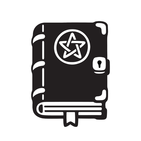 Dark magic spell book cartoon drawing, cute black and white wiccan grimoire. Isolated vector illustration. Иллюстрация