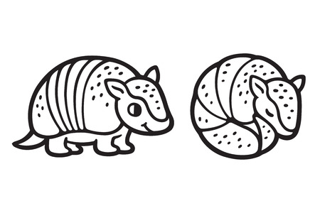 Cute cartoon armadillo, standing and roll up in a ball. Black and white hand drawn clip art illustration.