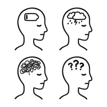 Mental health symptoms: depression, anxiety, confusion, apathy. Black and white head silhouette with illness symbols. Hand drawn vector icon illustration.