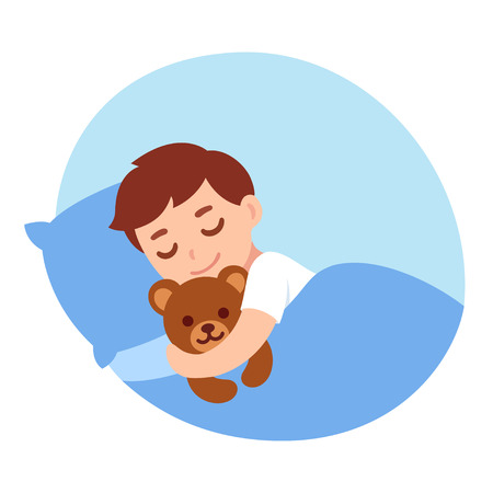 Cute cartoon little boy sleeping with teddy bear. Simple vector illustration. 版權商用圖片 - 128176214