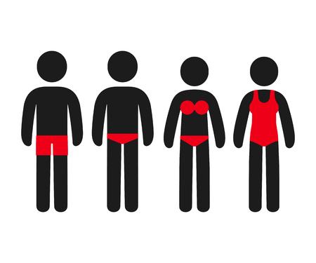 Einfache Strichmännchen-Menschen in Badeanzügen: Badehose, Slip, Bikini und Badeanzug. Männliche und weibliche Schwimmzubehör Icon-Set, Vektor-Illustration. Vektorgrafik