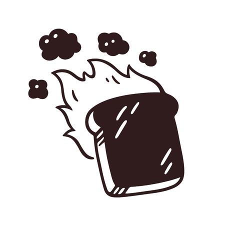 Tranche de pain grillé brûlée avec du feu et de la fumée. Illustration vectorielle de dessin animé dessiné à la main.