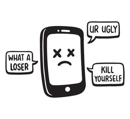 Cyber bullying concept vector illustration. Smartphone with hate messages through social media.