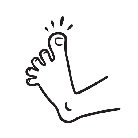 Cartoon foot drawing with swollen toe pain. Injury and trauma vector illustration.