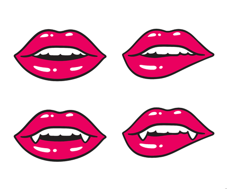 Sexy lips illustration set. Vampire mouth with fangs and human teeth. Bright cartoon comic drawing. Illustration