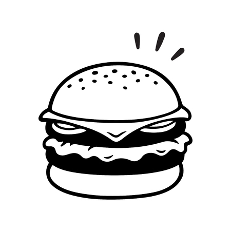 Double cheeseburger drawing, two patties burger illustration in vintage sketch style. Isolated black and white vector clip art.