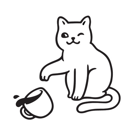 Cute mischievous cat throwing tea cup off table. Funny cats breaking things comic illustration, cartoon vector drawing.