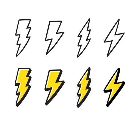 Cartoon-Blitz-Doodle-Set. Handgezeichnete Donnerbolzen, schwarze Strichzeichnungen und Farbe. Vektorillustrationssammlung, lokalisiert auf weißem Hintergrund.