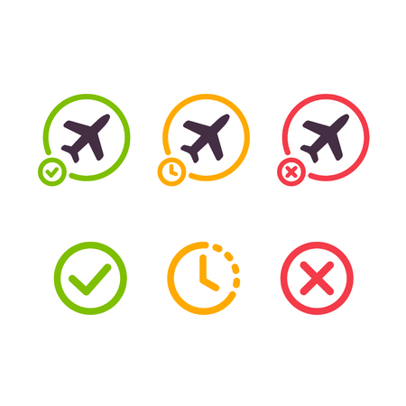 Airport airplane icons. Flight on time, delayed and cancelled. Isolated illustration set.