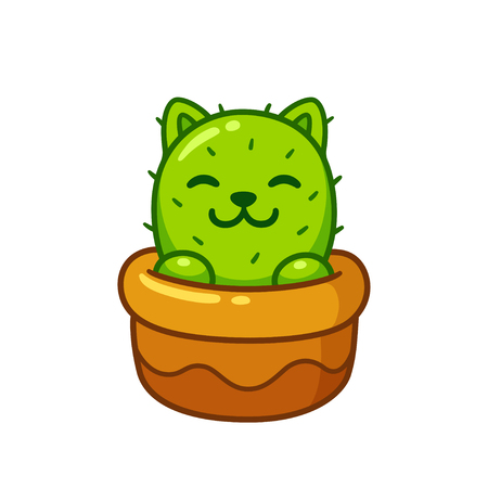 Cartoon cactus cat in flower pot, cute prickly kitty drawing. Isolated vector illustration.