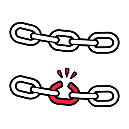 Stong and broken chain illustration, weak link concept. Isolated vector icon. Фото со стока - 128176229