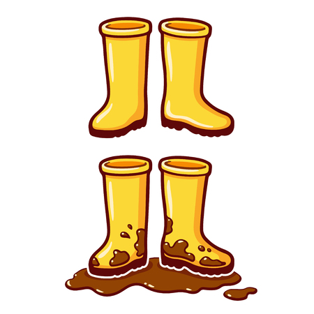 Cartoon yellow rubber rain boots, clean and dirty with mud puddle. Vector cip art illustration.