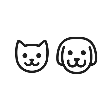 Cat and dog head icon. Simple smiley pet face vector illustration set. Stock Illustratie