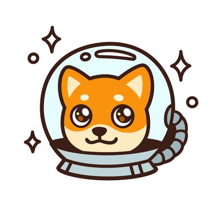 Cute cartoon space dog character drawing. Kawaii anime style Shiba Inu puppy in astronaut helmet, isolated vector illustration.