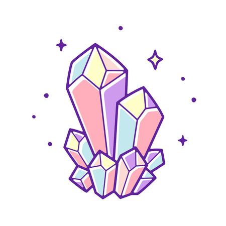Schöne Pastellkristalle zeichnen. Handgezeichnete Vektorillustration des natürlichen Kristalledelsteins.
