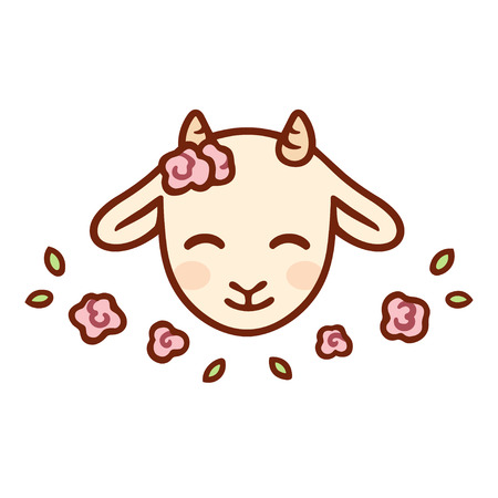 Cute cartoon baby goat face with flowers. Kawaii farm animal, isolated clip art vector illustration.