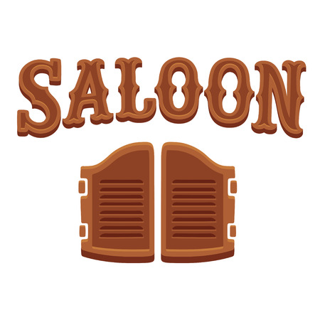 Saloon entrance, western style swinging doors and wooden lettering. Wild West design, isolated vector illustration.