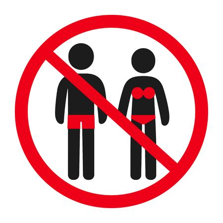 Wejście w znak informacyjny zabronione strój kąpielowy. Postać męska i żeńska w kostiumie kąpielowym w przekreślonym okręgu. Ilustracja symbol ostrzegawczy.