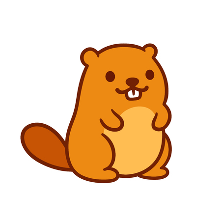 Cute chubby cartoon beaver, little kawaii mascot character. Isolated vector clip art illustration. Illustration