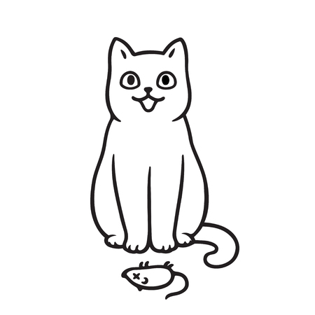 Cute cartoon cat with dead mouse drawing. Cats bringing prey animals to owner as gift. Vector illustration. Vector Illustration