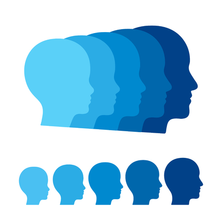 Child to adult transition, boy becoming man. Head profile silhouettes of human age. Vector graphics illustration. Illustration