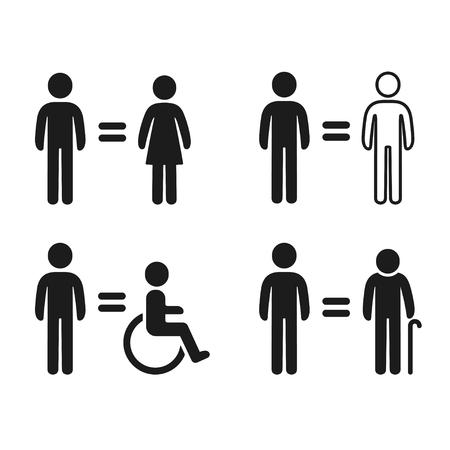Icone di uguaglianza impostate con semplici figure umane. Tolleranza di genere, razza, età e abilità. Giustizia sociale ed equità occupazionale. Illustrazione di simboli di vettore. Vettoriali