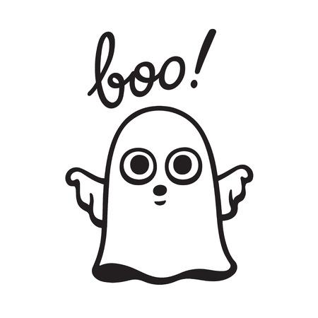Funny cartoon hand drawn ghost doodle saying Boo! Cute Halloween vector illustration.