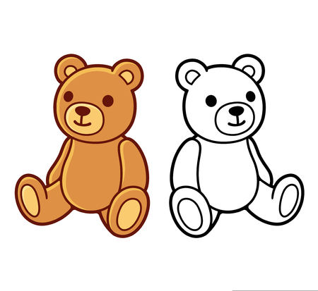 Toy teddy bear, black and white line art and colored drawing. Cute cartoon vector illustration.