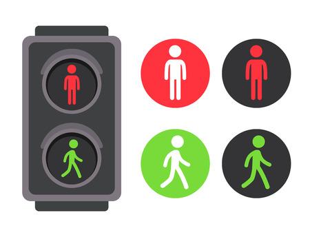 Semaforo pedonale con l'insieme dell'icona dell'uomo rosso e verde. Illustrazione vettoriale, simboli semplici del fumetto piatto.
