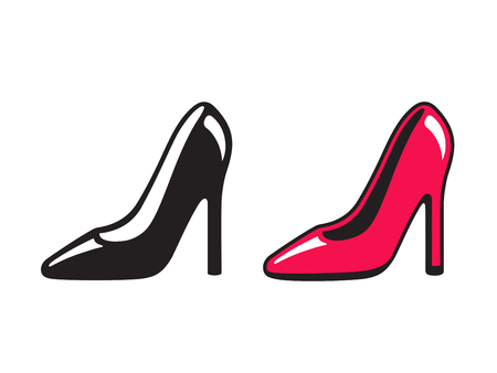 Black and red high heeled shoe icons. Simple drawing of stiletto heels, shopping and fashion vector illustration.