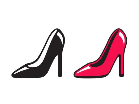 Iconos de zapatos de tacón negros y rojos. Dibujo simple de tacones de aguja, ilustración vectorial de compras y moda.