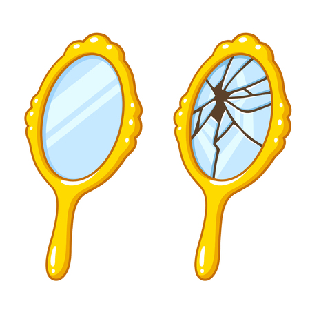 Cartoon retro hand mirror drawing set, new and broken. Bad luck superstition vector illustration.