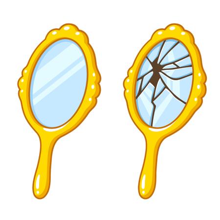 Espejo de mano retro de dibujos animados, nuevo y roto. Ilustración de vector de superstición de mala suerte.