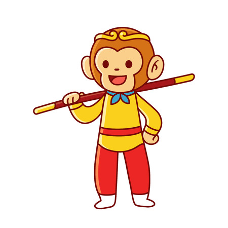 Sun Wukong, or Monkey King, Chinese legendary character vector illustration. Cute cartoon drawing of monkey boy with staff.