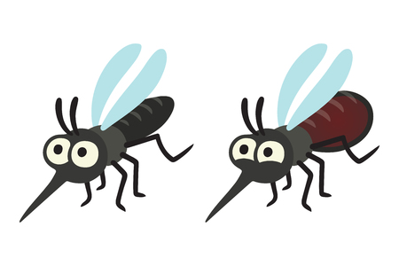 Cartoon mosquito drawing, hungry and full with blood. Isolated vector illustration set. Illustration