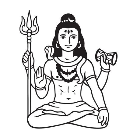 Lord Shiva sentado en posición de loto, dibujo en blanco y negro en estilo cómic de dibujos animados. Ilustración de vector aislado de la principal deidad hindú. Ilustración de vector