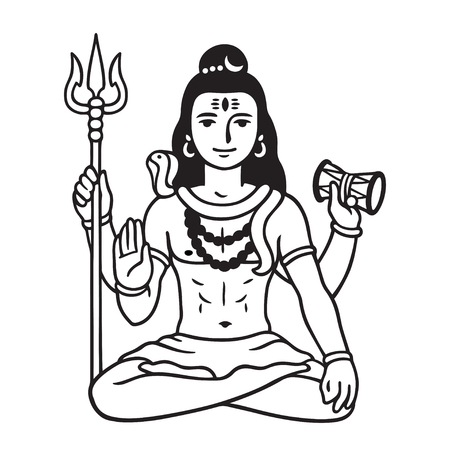 Lord Shiva sitting in lotus pose, black and white drawing in cartoon comic style. Isolated vector illustration of major Hindu deity.