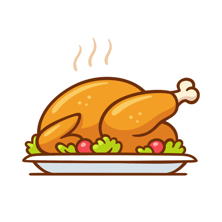 Roast turkey or chicken on plate, traditional Thanksgiving dinner vector clip art illustration. Simple cartoon style isolated drawing.