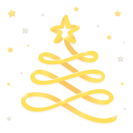 Merry Christmas greeting card, stylized golden ribbon Christmas tree with gold stars. Isolated vector illustration.