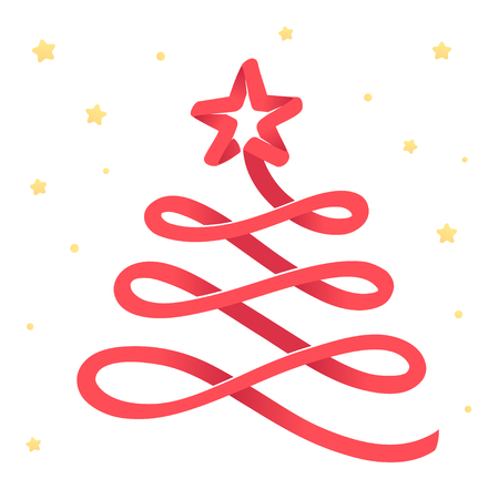 Merry Christmas greeting card, stylized red ribbon Christmas tree with gold stars. Isolated vector illustration.