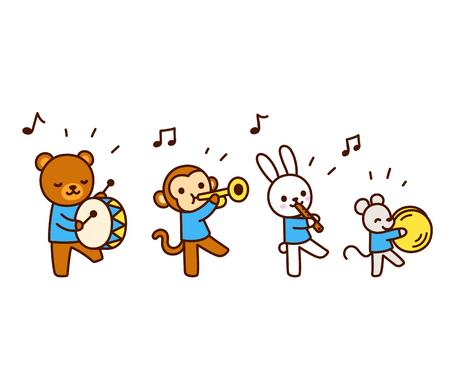 Cute cartoon animals marching band drawing. Kawaii animal characters playing music, isolated vector illustration.