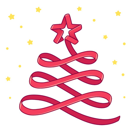 Merry Christmas greeting card, cartoon red ribbon Christmas tree drawing with golden stars. Isolated vector illustration.