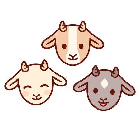 Cute cartoon baby goat face set. Kawaii kid goats with different expressions, isolated clip art vector illustration.
