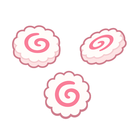 Narutomaki, Japanese surimi fish cakes. Isolated vector illustration.