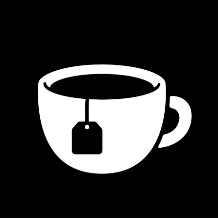 Simple black and white cup with tea bag.