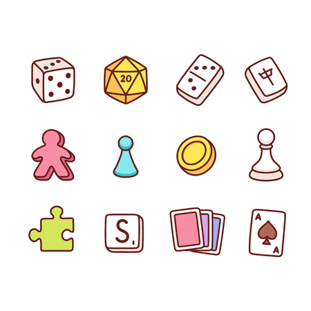 Board game icons in hand drawn cartoon style. Dice and play pieces, markers and cards. Vector clip art illustration. Ilustracja