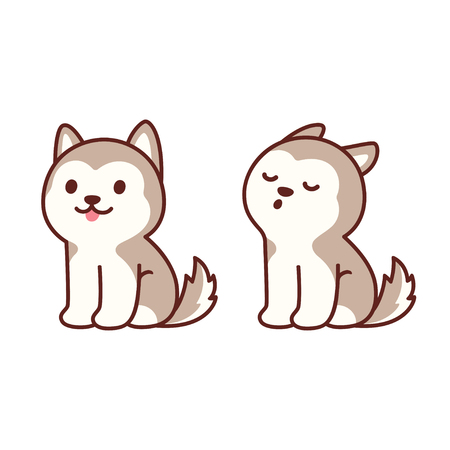 Cute cartoon husky puppy sitting and howling. Adorable little dog drawing, isolated vector illustration.